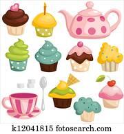 Tea set and cupcakes