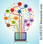 technologie, app, baum