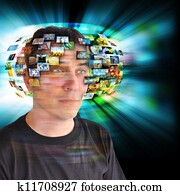 Technology Television Man with Images