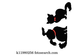 the silhouette of cat and dog