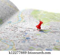 Travel destination map push pin