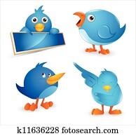 Twitter Bird Cartoon Icon Set