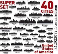 unglaublich, stadt skyline, set., vereinigte staaten, von, america.