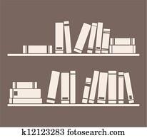Vector books on the shelves