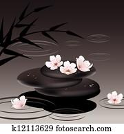 vektor, zen, steine, und, kirschen, blumen