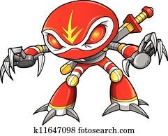 Warrior Ninja Soldier Robot Cyborg