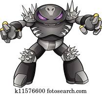 Warrior Robot Cyborg Soldier Vector