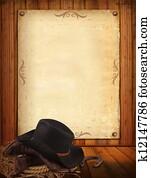 westliche, hintergrund, mit, cowboy, kleidung, und, alt, papier, für, text