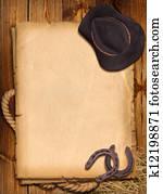 westliche, hintergrund, mit, cowboyhut, und, horseshoe.