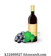 Wine bottle with black grapes