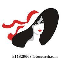 Woman portrait in big hat