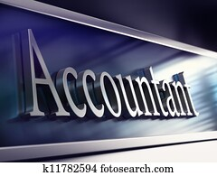 word accountant written onto a company plaque, perspective view, blue tones and blur effect