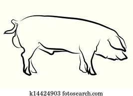 豚 シルエット クリップアート切り張りイラスト絵画集
