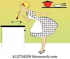 1950s, hausfrau, kochende hauptmahlzeit