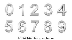 3D chrome numbers set from 0 to 9