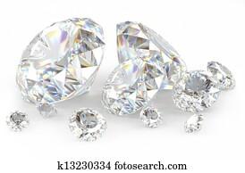 3d diamonds on white