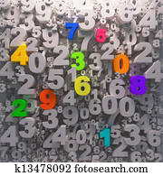 3D digits background - color 0-9