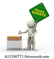 3d man and donation box