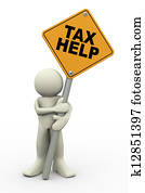 3d man with tax help sign board