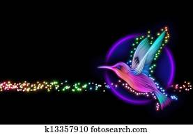 3d render of colibri bird - hummingbird with stars