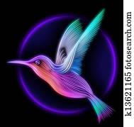 3d render of colibri bird - hummingbird