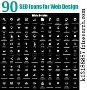 90 SEO Icons For Web Design White V