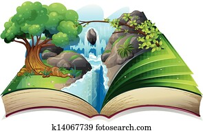 A book with an image of a forest