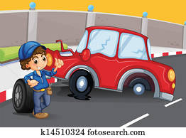 A boy near the car accident at the road