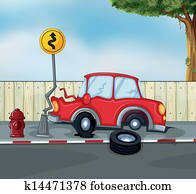 A car accident at the roadside near the hydrant