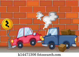 A car accident near the wall