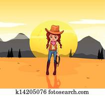 A cowgirl at the desert