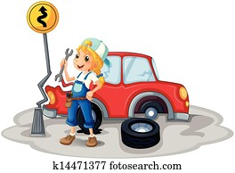 A female mechanic near the car accident