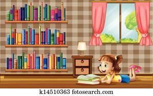 A girl reading books near the window