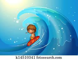 a, kleiner mann, surfen