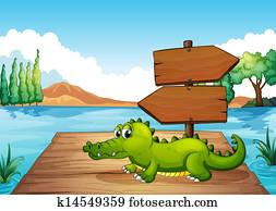 a, krokodil, bei, dass, teich