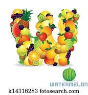 Alphabet From Fruit. Letter W
