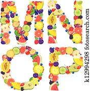 Alphabet from fruit MNOP