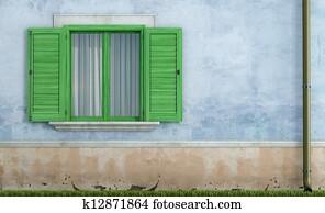 bild alt h lzern fenster mit fensterlaeden malen blau farbe k12300617 suche. Black Bedroom Furniture Sets. Home Design Ideas