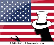 American flag and girl