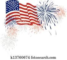 amerikanisch, usa markierung, und, feuerwerk