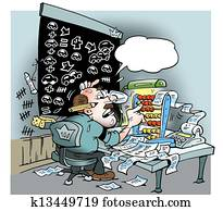 An accounting man with lots of calculations