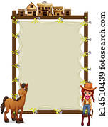 An empty signage with a cowgirl and a horse