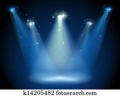 An empty stage with spotlights