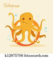 Animal alphabet with octopus