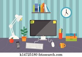 arbeitende, raum, in, büro