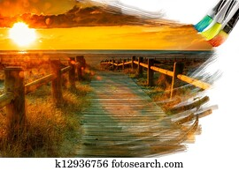 artist brush painting picture of beautiful landscape
