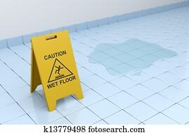 Attenzione pavimento bagnato segni sul marciapiede foto immagine