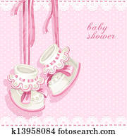 Baby shower card with pink booties
