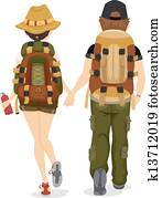 Back View of Couple Hiking