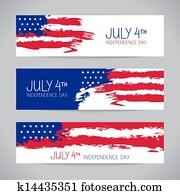 banner, mit, amerikanisch, flag., unabh?ngigkeit- tag, design